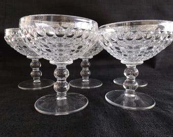 Ancestral-Clear by NEW MARTINSVILLE AKA Thousand Eye Set of 5 Champagne Glasses