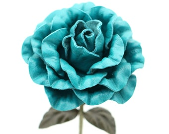 Teal leather camellia turquoise Leather Rose Third Wedding Anniversary Gift Long Stem leather flower 3rd Leather Anniversary