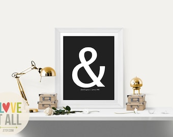 "Personalized Wedding Gift . Wedding Gift for Couple . Modern Ampersand Graphic Typography  Love Print ""&"" Punctuation 1st Paper Anniversary"