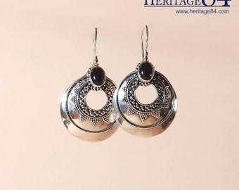 Earrings with Black Onyx in 925 Sterling Silver, Dangle earrings handmade , Boho earrings, bohemian tribal earrings, fashion silver earrings