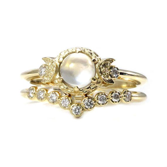 Diamond and Moonstone Engagement Ring Set - Moon Phase Wedding Rings - Yellow, Pink or White Gold