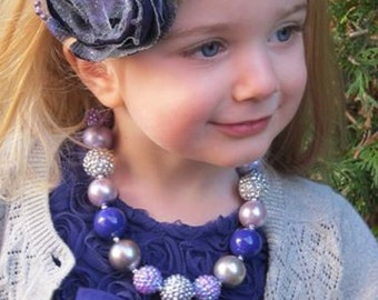 Baby headband, infant headband, Purple and silver handmade headmade headband, cabbage rose flower headband
