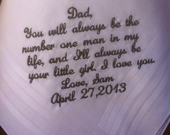 Father of the bride handkerchiefs Cute note from bride to her father on her wedding day
