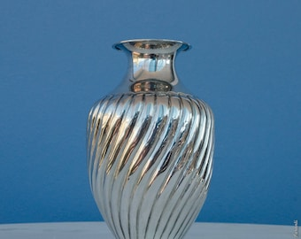 Sterling Silver Vase - Oval Wavy Vintage Wedding Gift - Hostess Gift - Early 90's Home Decor - FREE Shipping