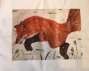 fox print cushion, fox print throwpillow, bespoke cushion, bespoke throwpillow, fox print home decor, fox home decor, decorative cushion