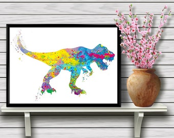 T-Rex, Dinosaur,Tyrannosaurus Rex, Carnivore,For Children,Watercolor illustration,Print,Art, Colorful Wall Art, Room decor, gift, print (04)