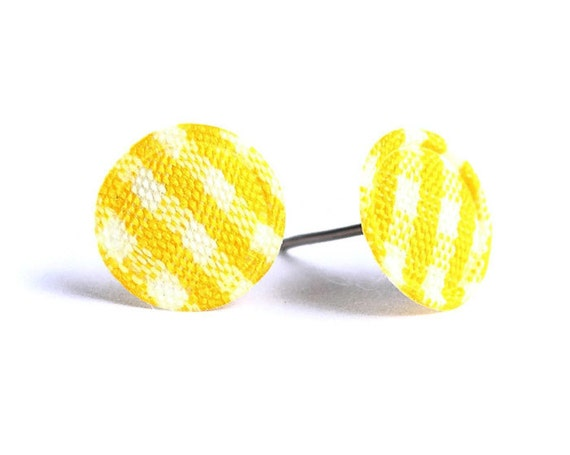 Yellow and white plaid round dot padded fabric stud earrings READY to ship (338)