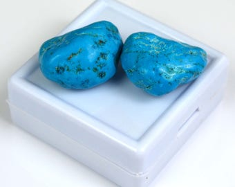 63.05 Ct High Quality Natural Arizona Mine Kingman Turquoise Gemstone Rough Pair