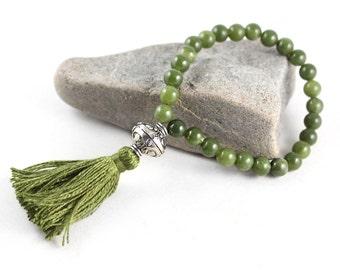Jade Bracelet, Tassel Bracelet, Mala Bracelet, Wrist Mala, Stretch Bracelet, Quartz Mala, Amethyst Mala, Wedding Jewelry, Yoga Jewelry,