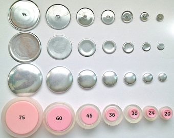 Size 60 Flat Back Cover Button Starter Kit (6)