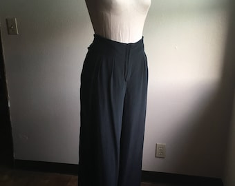 vintage 90s black silk high waist wide leg baggy palazzo pants waist 36