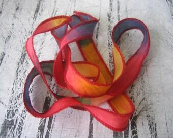 Hand Dyed Painted Habotai Silk Wrap Bracelet - red blue brass - Fairy Ribbon - DIY wrap bracelet - Silk Bracelet - Ribbon Bracelet - Ribbon