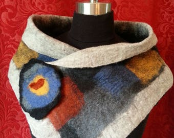P# 242. NZ Merino Felted Neck Warmer + Brooch