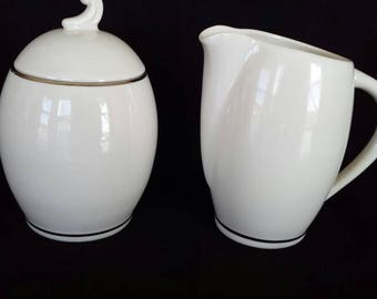 Rare Flintridge Bellmere coupe mid century modern sugar and creamer Bon lite and platinum trim 1960's