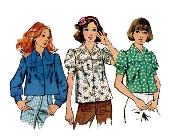 1970s Smock Tops Pattern Summer Puff Sleeves Dog Ear Collar Tent Crop Top Long Sleeve Bust 32 Simplicity 5583 Vintage Sewing Pattern