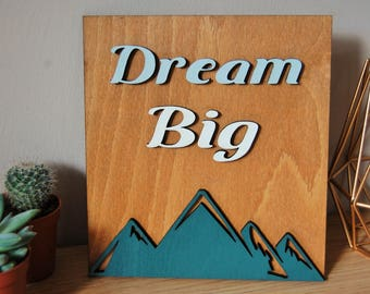 Dream Big Wooden Sign, Wanderlust, House Sign, Travel Decor, Rustic Sign, Travel Gift, Housewarming