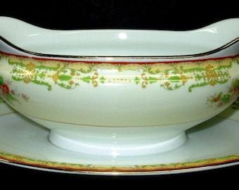 Vintage Noritake China Gravy Boat, Floral Pattern Serving Bowl, Sauce Boat