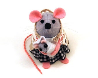 Mom and Baby Mouse - collectable art rat artists mice cute soft sculpture stuffed plush gift for Mum Mothers Day gift pregnancy baby shower