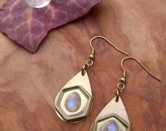 Moonstone earrings brass ~*~ tribal jewelry