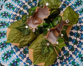 Fairy ballerina shoes, Tinkerbell fairy shoes, elven shoes, fairy costume shoes, ballerina shoes with leaves and rhinestones, custom shoes