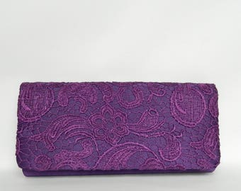 Purple Envelope Lace Clutch Purse, Lace Clutch Purse, Evening Lace Purse, Wedding Clutch, Bridesmaids Gifts, Bridesmaids Clutch
