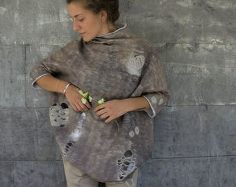 Felted wool, Women  gray nuno felt top,  Wearable Art Clothing, felted clothing, wool Top, Designer Blouse, Hand made