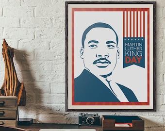 Dr Martin Luther King Jr, MLK Day Wall Art, African American, Black Lives Matter, MLK Equal Human Rights Vintage Poster, MLK Day Retro Print