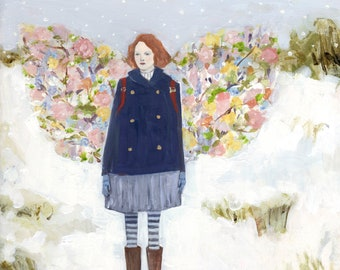 Fine art print - tess wore wings made of spring - limited edition giclee print of original oil painting