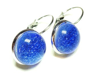 Dichroic Glass Lever Back Earrings - Sky Blue
