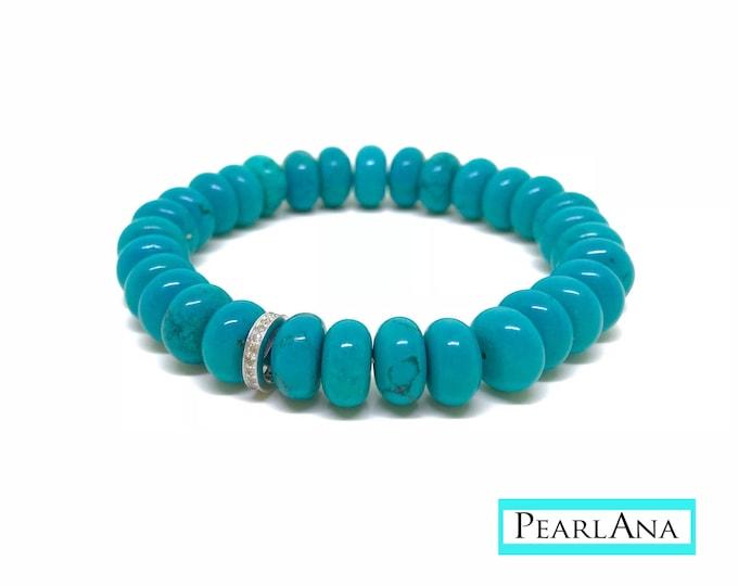 Beaded turquoise howlite and 0,22 carat diamond bracelet