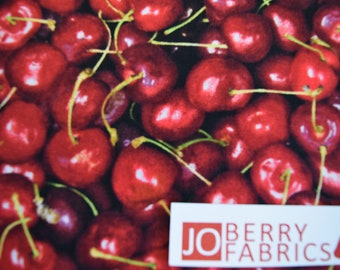 Dark Cherries from the Farmer's Market by RJR.  Quilt or Craft Fabric, Fabric by the Yard.