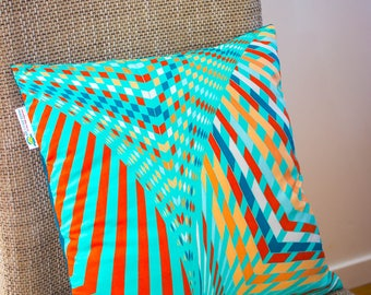 Cushion - pillow - sofa - cover - square African fabric wax ethnic pattern model Thamani #2 watery Green