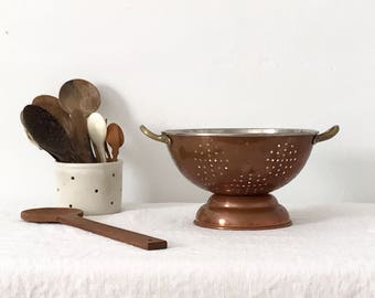 Vintage Copper Colander Rustic Holiday Thanksgiving French Country House Cooking Primitive Farmhouse
