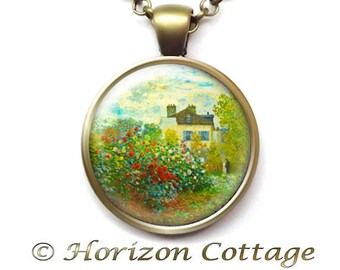 The Artist's Garden in Argenteuil by Monet, Old Masters' Classic Artwork, Garden Necklace, Classic Painting to Wear, Your Choice of Finish