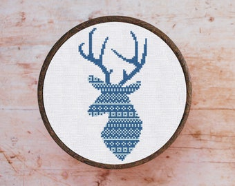 Cross Stitch Pattern Blue Deer Ornament Instant Download PDF Counted Chart