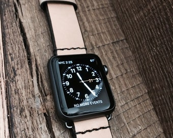 Apple Watch Strap_20/22/24 mm Handmade Vegetable Tan Leather Band / strap