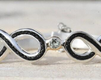 Sterling silver Infinity bracelet with horsehair braid,custom horsehair bracelet, horse gifts, horse memorial bracelet