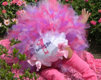 1st Birthday Diaper Cover - Baby Girl Bloomers - Baby Girl Birthday - Tutu Diaper Cover