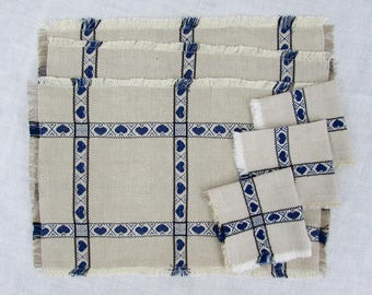 Scandinavian placemats & napkins - set of 3 - natural linen blue heart pattern - 1980s
