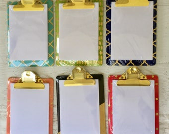 "Hampton Art Mini Clipboards, 5X7"" size, decorative, with gold foil accents, pad-plain white notepaper, office supply, hole for easy hanging"