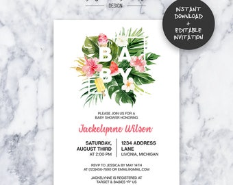 Tropical Baby Shower Invitation   INSTANT DOWNLOAD   Editable PDF  Do It Yourself   Printable