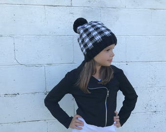 Grey Plaid Hat, fits 6 months to womens, grey and black plaid crochet hat, pom pom, slouchy hat, Winter Beanie, Photo Prop, Spring hat, Gift