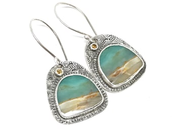 Scenic Opalized Wood Earrings, Beach Scene Earrings, Citrine, Birds, Sterling Silver, Artisan Made, Handmade, Unique Earrings, blue & brown