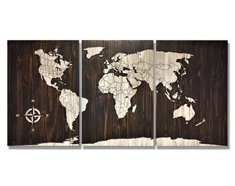 World Map Wall Art, Wood Wall Art, Home or Office Decor, Statement piece, Travel Decor, Rustic, Wooden Map, Carved, Solid Wood