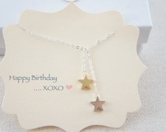 Gold and silver small star dangling necklace, gift, lucky, valentine's day, birthday, layered necklace, trendy