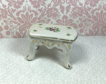 "MINIATURE PORCELAIN TABLE, 1960's ""Made in Japan"", Cabbage Rose Decal, Vintage Dollhouse Furniture"