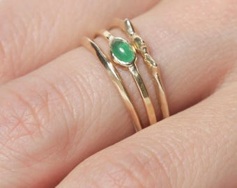 14k Emerald Rising Tide Ring Set  | 14k Gold Ring Set |  Fair Trade Emerald