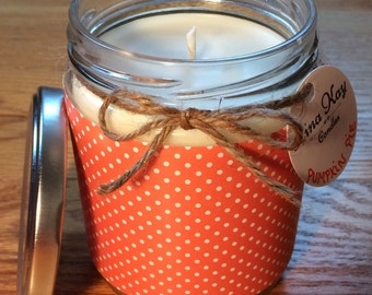 Pumpkin Pie Candle - Natural Soy Candle - 13oz - orange small dots paper