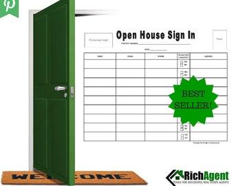 Open House Sign In Sheet   BEST SELLER   Real Estate Forms   Open House   Real Estate Agents   Realtors   Real Estate Marketing