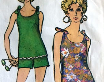 Rare Fabulous Jiffy Pattern For Shoulder Tie Top, Flared Mini Skirt and Shorts or Pants---Simplicity 3341---Size 14 Petite Bust 36